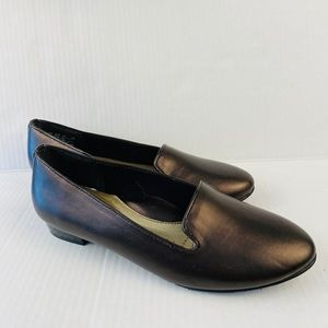 Hush puppy loafers brown metallic comfy slip-ons